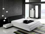 Правоъгълна на спалня по проект в бяло с черна табла със заоблени ъгли